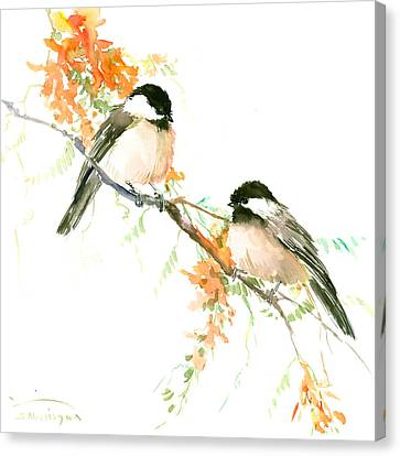 Chickadees And Orange Flowers Canvas Print by Suren Nersisyan