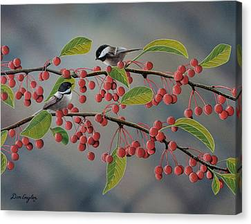 Chickadees Canvas Print by Don Engler