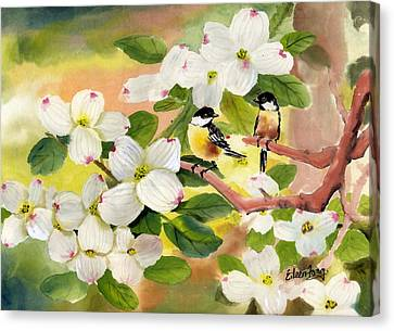 Chickadees In The Dogwood Tree Canvas Print by Eileen  Fong