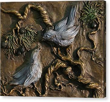 Canvas Print featuring the relief Chickadees On Juniper With Berries  by Dawn Senior-Trask