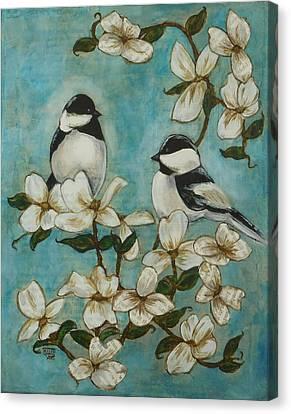 Chickadees Canvas Print by Regina Mailloux