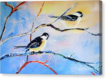 Canvas Print featuring the painting Black-capped Chickadees Limited Edition Prints 2-20 Set Decor In Wanderlust  by Donna Dixon