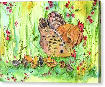 Canvas Print featuring the painting Chicken Family by Cathie Richardson