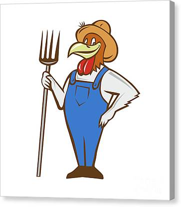 Chicken Farmer Pitchfork Isolated Cartoon Canvas Print
