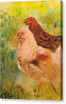Canvas Print featuring the painting Chicken Love by Barbara Giordano