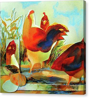 Chicken Puzzler- Where Are My Eggs Canvas Print