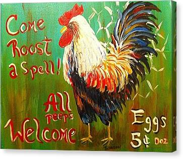 Chicken Welcome 3 Canvas Print by Belinda Lawson