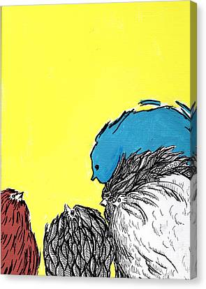 Canvas Print featuring the painting Chickens One by Jason Tricktop Matthews