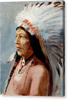 Chief Flying Eagle Of The Blackfoot Tribe Canvas Print by Lewis A Ramsey