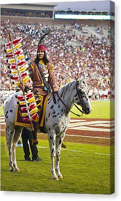 Chief Osceola And Renegade On Bobby Bowden Field Canvas Print by Frank Feliciano