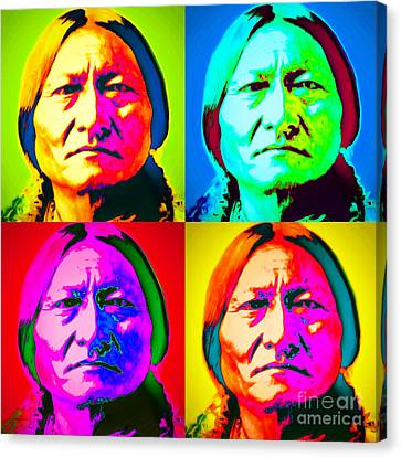 Chief Sitting Bull 20151230 Four Canvas Print by Wingsdomain Art and Photography