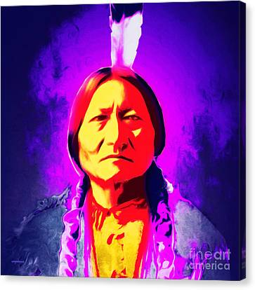 Chief Sitting Bull 20160103 Square Canvas Print by Wingsdomain Art and Photography