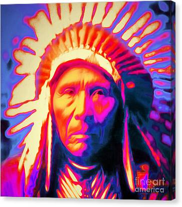 Chief Three Horses 20151231 Square Canvas Print