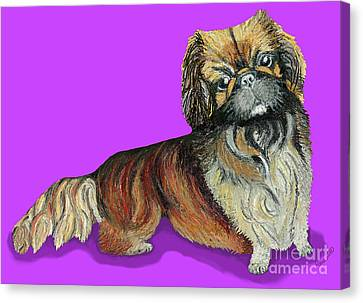 Canvas Print featuring the pastel Chien Chien Pekingese by Ania M Milo