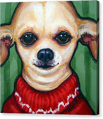 Chihuahua In Red Sweater - Boss Dog Canvas Print by Rebecca Korpita