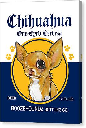 Caricature Canvas Print - Chihuahua One-eyed Cerveza by John LaFree