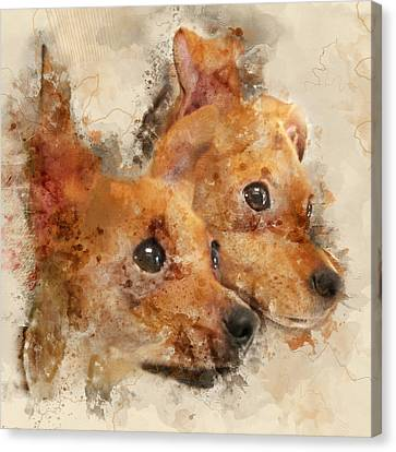 Chihuahua Twins - Digital Watercolor Dog Portrait Canvas Print