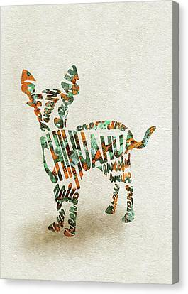 Chihuahua Watercolor Painting / Typographic Art Canvas Print