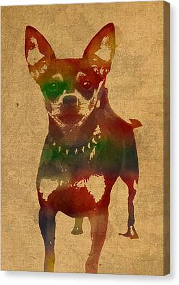 Chihuahua Watercolor Portrait On Worn Canvas Canvas Print