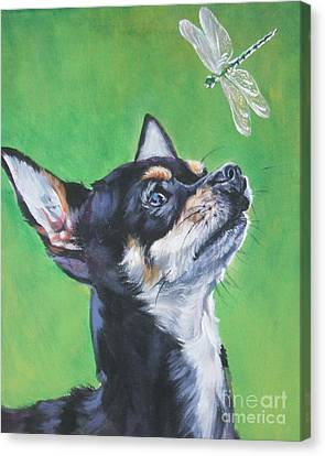 Chihuahua Canvas Print - Chihuahua With Dragonfly by Lee Ann Shepard