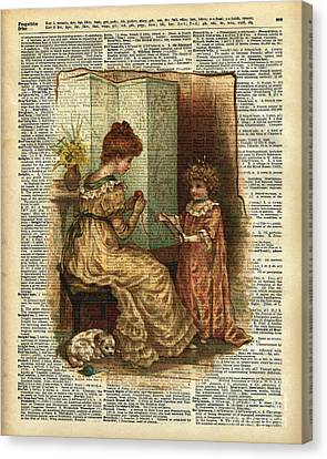 Child Book Crocheting Illustration  Canvas Print by Jacob Kuch
