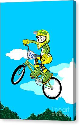 Sports Canvas Print -  Child Flying On Bmx Bicycle With Protective Clothing In Green And Yellow Color by Daniel Ghioldi