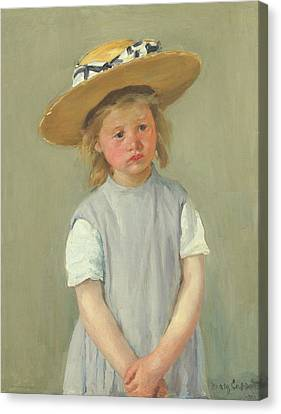Canvas Print featuring the painting Child In A Straw Hat By Mary Cassatt 1886 by Movie Poster Prints
