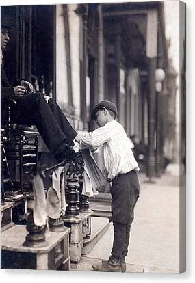 Child Labor, Bootblack At 2 West 4th Canvas Print by Everett