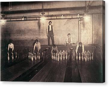 Child Labor, Pin Boys At A Bowling Canvas Print by Everett