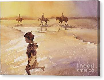 Canvas Print featuring the painting Child On Beach- Ocracoke Island, Nc by Ryan Fox