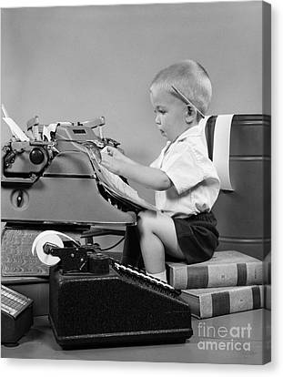 Child Playing Accountant, C.1950s Canvas Print by H Armstrong Roberts ClassicStock