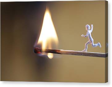 Child Running Towards A Burning Flame Canvas Print by Ulrich Kunst And Bettina Scheidulin