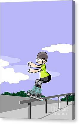 Funny Canvas Print - Child Sliding Down The Railing Of The Park Ramp With His Roller Skates On Line. by Daniel Ghioldi