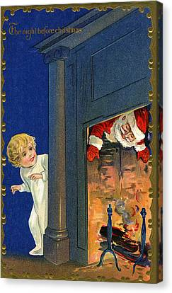 Father Christmas Canvas Print - Child Watches As Santa Comes Down Chimney On Christmas Eve by American School