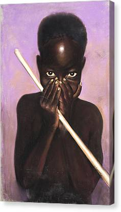 Child With Stick Canvas Print by L Cooper