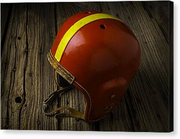 Sports Collectibles Canvas Print - Childhood Football Helmet by Garry Gay