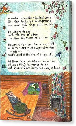 Old Cabins Canvas Print - Childhood Poem And Illustration by Dawn Senior-Trask