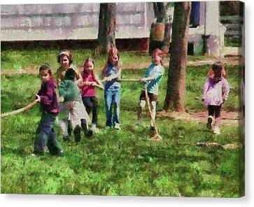 Children - Tug Of War  Canvas Print by Mike Savad