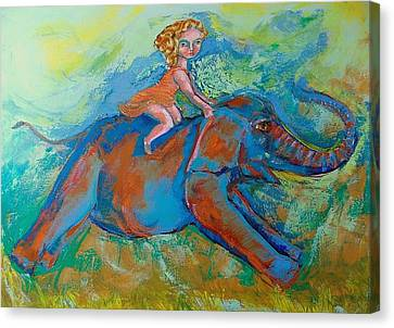 Galloping Elephant Canvas Print - Children And Elephant. by Enrique Aravena