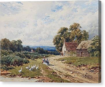 Children And Geese Canvas Print by Harry Sutton