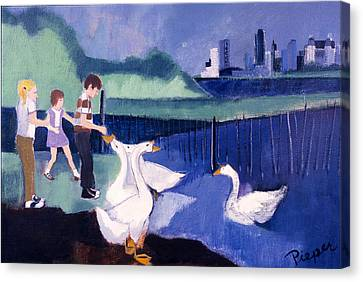 Children And Geese In Central Park 1971 Canvas Print by Betty Pieper