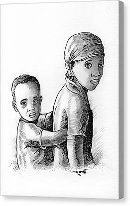 Biro Art Canvas Print - Children by Anthony Mwangi