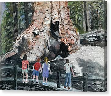 Children At Sequoia National Park Canvas Print by Quwatha Valentine