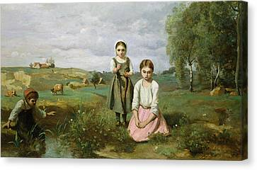 Children Beside A Brook In The Countryside, Lormes Canvas Print