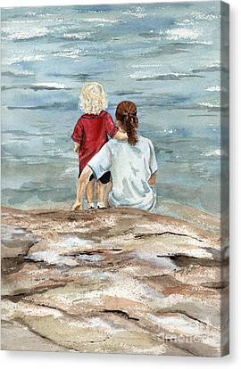 Children By The Sea  Canvas Print by Nancy Patterson