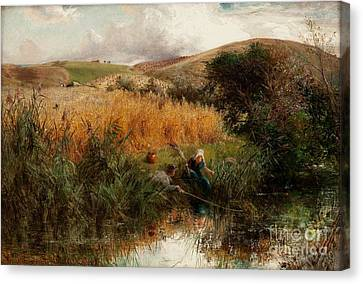 Children Fishing Beside A Cornfield Canvas Print