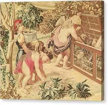 Children Gardening Canvas Print by Charles Le Brun