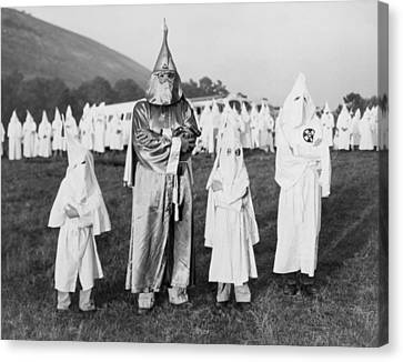 Children In Ku Klux Klan Costumes Pose Canvas Print by Everett