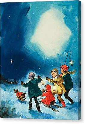 Children In The Snow Canvas Print by English School