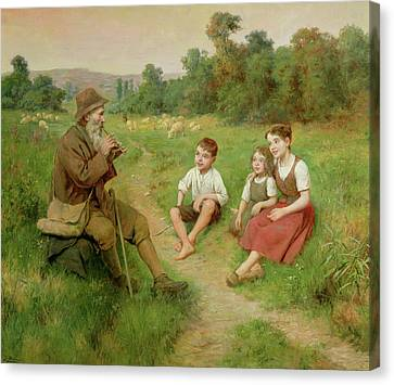 Children Listen To A Shepherd Playing A Flute Canvas Print by J Alsina